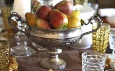 A silver bowl from #Goodwill filled with pears, perfect for a fall centerpiece.  #simple #thrift #decor
