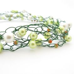 wire Crocheted jewelry | Wire Crochet Necklace Green & White Beaded by MoonlightShimmer