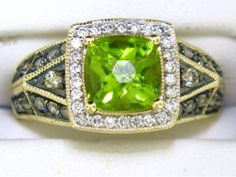 Le Vian Green Apple Peridot Ring with Chocolate Diamonds and Vanilla Diamonds in Honey Gold.                                                                                                                                                             14Karat Yellow Gold Diamonds=0.40 Total Carat Weight and Peridot Ring