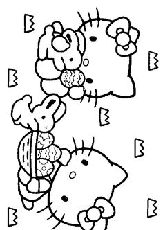 hello kitty coloring pages for easter