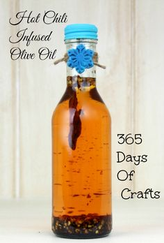 make your own Hot Chili infused Olive Oil great tasting gift idea to make using hot peppers.