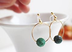 Turquoise Gold HoopTurquoise Clip OnNon Pierced