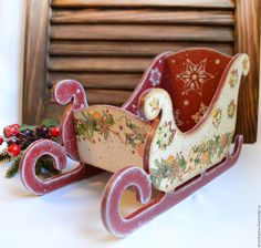 Online shopping on My Livemaster. New year, christmas souvenir Christmas Decoupage, Christmas Wood Crafts, Holiday Crafts, Christmas Decorations, Handmade Christmas, Christmas Shopping Online, Online Shopping, Christmas Sled, Christmas Paintings