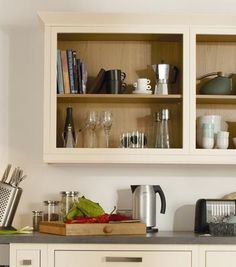 Open Wall Units, maybe on left hand wall, between 2sets of cupboards