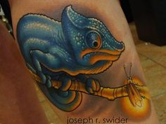 Whether you're looking for a new artist or just some inspiration, check out this portfolio of bold color tattoos by Joe Swider (Cracker Joes Tattoo/Skin Deep Ink) Lizard Tattoo, Chameleon Tattoo, Tattoo Portfolio, Artist Portfolio, Tattoo Skin, Inked Magazine, Animal Tattoos, New Artists, Color Tattoo