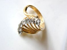 Vintage 18K Cocktail Ring Glam Sparkle by PastEnchantments on Etsy, $29.00