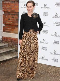 leopard print skirt Tara Fitzgerald
