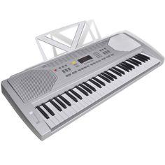 Elektrisch keyboard met 61 toetsen en bladmuziek houder  Dit elektronische keyboard met een goede geluidskwaliteit heeft 61 toetsen en een bladmuziek houder. Het is gemakkelijk om het keyboard te bespelen. Dit keyboard is geschikt voor beginners en intermediar gebruikers. Dit veelvermogend elektronische keyboard heeft 100 soorten geluiden en 100 automatische begeleidende melodieën die goed geprogrammeerd zijn. Ook zitten er 8 demo songs op. Je kunt ook gebruik maken van een opnamefunctie…