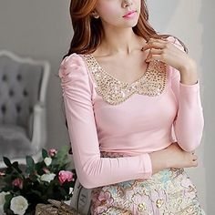 Pink+Doll®+Women's+Lapel+Neck+Bodycon+Cotton+T-Shirt+–+USD+$+22.19