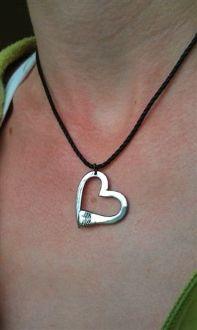 Open Heart Horseshoe Nail Pendant