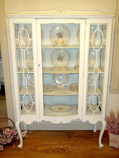 Gorgeous Antique China Cabinet~via Carol White by elisabeth French Country Furniture, Shabby Chic Furniture, Antique Furniture, Country French, White Furniture, Painted Furniture, Antique China Cabinets, Painted China Cabinets, Curio Cabinets