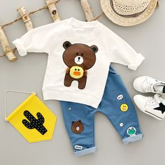 Boys Clothing Set Autumn New 2017 Fashion Style Cotton O-Neck full Sleeve with Bear Print Baby Boy Clothes - Kid Shop Global - Kids & Baby Shop Online - baby & kids clothing, toys for baby & kid Outfits Niños, Newborn Outfits, Baby Boy Outfits, Boys Casual Suits, Kids Suits, Toddler Boy Fashion, Kids Fashion, Fall Baby Clothes, Baby Shop Online