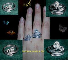 Anillos artesanales adaptables de alambre de aluminio de distinto grosor . Handmade wire rings