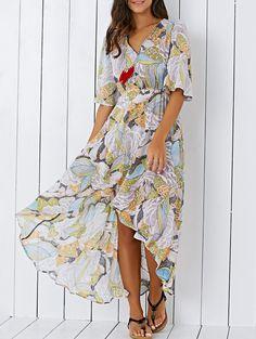 Bohemian V Neck Printed High Low Chiffon Women's Maxi Dress