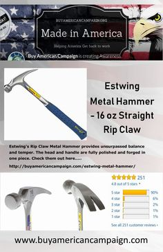 Estwing's Rip Claw Metal Hammer provides unsurpassed balance and temper. The head and handle are fully polished and forged in one piece. Check them out here American Manufacturing, Get Back To Work, Time Clock, Create Awareness, Made In America, Claws, Handle, Store, Metal