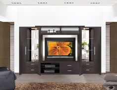 Contemporary dark wood Built in Entertainment Center | Crystal Entertainment Center Wall Unit modern furniture