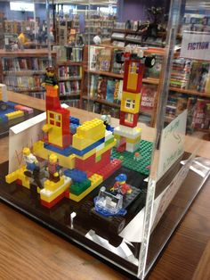 This library's friends group bought 8 display cases to house the Lego creations between meetings! Yes, please.