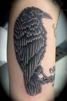raven tattoos | Arm Raven Tattoo