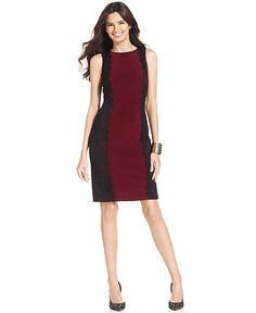 Isaac Mizrahi Dress, Sleeveless Colorblock Lace Shift - Dresses - Women - Macy's