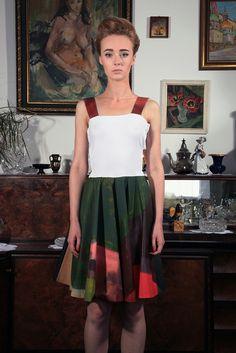 "a dress, a painting by Michał Ujczak entitled ""Duae"", photo: Dawid Kot, model: Anna Maria Marylska"
