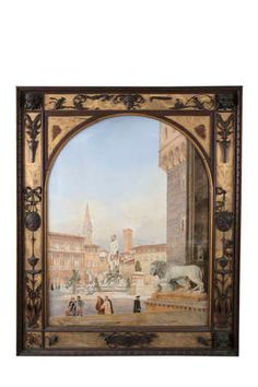 Lot-503 Irish Traditions, Florence, Fountain, Im Not Perfect, British, Watercolor, Traditional, Painting, Garden