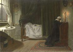 Diederik Franciscus Jamin | Het gebed voor de overledene, Diederik Franciscus Jamin, 1864 | Het gebed voor de overledene. In een sterfkamer bidt een jonge vrouw knielend voor een kruisbeeld tussen twee brandende kaarsen. In het midden achter gordijnen het bed waarin het lichaam van de overleden persoon onder een laken ligt. Op het bed ligt een kruisbeeld. Links een tafel bij een venster.