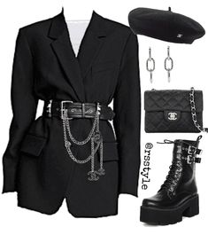 Blazer as dress Outfit Komplette Outfits, Kpop Fashion Outfits, Stage Outfits, Cute Casual Outfits, Retro Outfits, Grunge Outfits, Polyvore Outfits, Stylish Outfits, Polyvore Dress