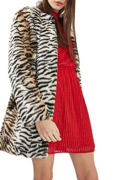 Topshop Tiger Faux Fur Coat available at #Nordstrom