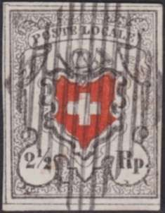 Switzerland 1850, POSTE locale, 2œ Rp. black red with KE type 38. very fine law confederate lozenge. All around good till with wide margins, superb View...