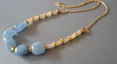 Sky Blue Malaysia Jade Gemstone Necklace by Lucyhandmadejewelry