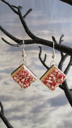 Peppermint Bark Earrings by dragonsdreamsdesigns on Etsy