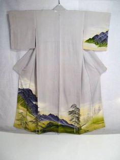 Vintage-Japanese-KIMONO-Hand-Drawing-Dyeing-Homongi-Silk-P670