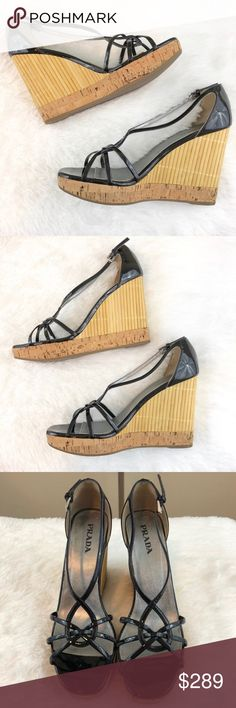 6a195d7669355b Prada Patent Leather Bamboo Platform Wedges Prada patent leather bamboo  platform wedges. Adjustable strap with
