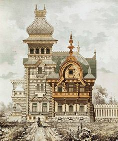 Architectural drawing... Wooden Architecture, Russian Architecture, Architecture Drawings, Classical Architecture, Historical Architecture, Ancient Architecture, Beautiful Architecture, Beautiful Buildings, Art And Architecture