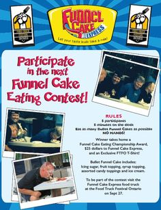 Funnel Cake Eating Competition going down at the Food Truck Fest this year on Sept 27 Make sure to visit the Funnel Cake Express Food Truck at the event to learn how you can become a participant Express Gifts, Soft Serve, How To Become, How To Make, Food Truck, Competition, Learning, Eat, Mobile Food Cart
