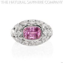 3.60ct Natural Pink Sapphire set in an 18k White Gold Antique Bezel Setting with 0.63cts of Diamonds   Price: 	$13,750.00  http://astore.amazon.com/greabengagementring-20/detail/B00EKZK0QU