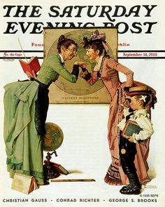 """First Day of School"" or ""Back to School"" Saturday Evening Post Cover, September By Norman Rockwell Norman Rockwell Prints, Norman Rockwell Paintings, The Saturdays, Saturday Evening Post, Vintage Magazines, First Day Of School, Middle School, Illustrations, American Artists"
