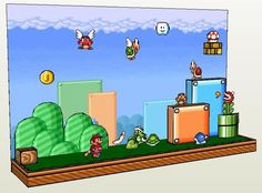 Super Mario Bros. 3 Papercraft Diorama Free Template Download - http://www.papercraftsquare.com/super-mario-bros-3-papercraft-diorama-free-template-download.html#Diorama, #SuperMarioBros3