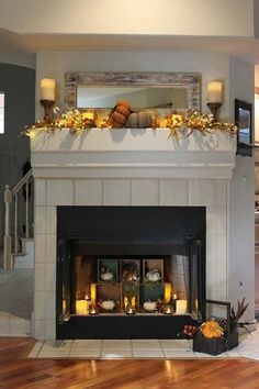 Melissa Valeriote's mantel decorated for fall