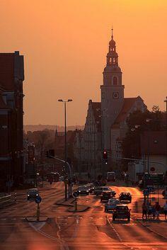 Orange sunset Olsztyn, Poland