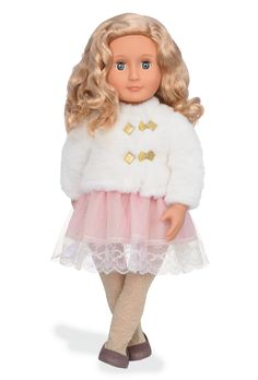 Celebrate the holidays in style with Halia, a beautiful doll with blonde hair and gray-blue eyes with a pink lace dress, a white faux-fur jacket, gold sparkle tights, and dress shoes. Og Dolls, Girl Dolls, Sparkly Tights, Poupées Our Generation, White Faux Fur Jacket, Journey Girls, Doll Hair, 18 Inch Doll, Holiday Fashion