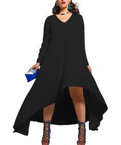 V-Neck High Low Plus Size Dress