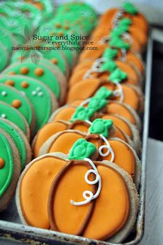 Decorated Halloween Pumpkin Cookies (with cinnamon and sugar)