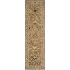 """Safavieh Anatolia Tan Traditional Rug - Runner 2'3"""""""" x 8' ($128) ❤ liked on Polyvore featuring home, rugs, tan, traditional rugs, tufted rugs, traditional wool rugs, wool runners and tufted area rugs"""