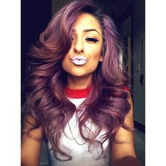 beautiful hair color and face , cute lip color and nose piercing . she's like perfection ✨
