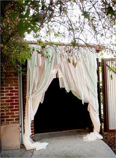 draped fabric entrance