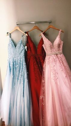 5d7efad04aced Charming V neck Prom Dress Tulle A Line Evening Dress, Appliques Long Party  Dress