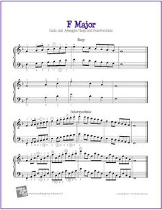 F Major Scale and Arpeggio | Easy and Intermediate for Piano - http://makingmusicfun.net/htm/f_printit_free_printable_sheet_music/f-major-piano.htm