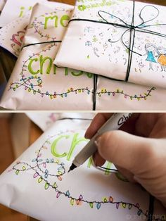 Gift-wrapping Ideas That Are Actually Awesome Your doodles can become a unique addition to this year's presents.Your doodles can become a unique addition to this year's presents. Present Wrapping, Creative Gift Wrapping, Wrapping Ideas, Creative Gifts, Pretty Packaging, Gift Packaging, Packaging Ideas, All Things Christmas, Christmas Holidays