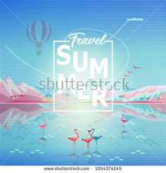 Modern Art 2018 poster Magic Voyage concept, Paradise landscape.   Summer sunny day painting poster on theme of Tropical sea beach, Rocky mountains reflection, air hot balloons sky, airplane, flamingo, Paradise nature landscape Adventure, Traveling, Voyage, Camping, outdoor recreation, flyer, advertising brochure cover concept, poster, wallpaper vector illustration.